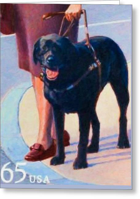 Disability Paintings Greeting Cards - Seeing Eye Dog Greeting Card by Lanjee Chee