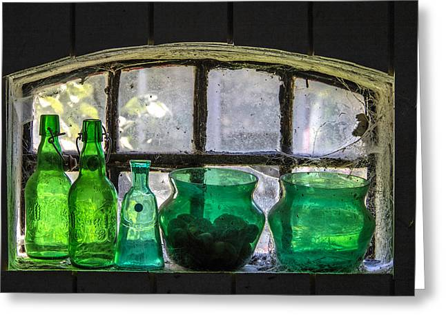 Glass Vase Greeting Cards - Seeing Green Greeting Card by Odd Jeppesen