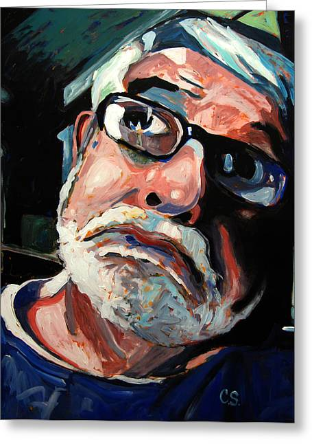Pull Paintings Greeting Cards - Seeing Self-portrait Greeting Card by Charlie Spear