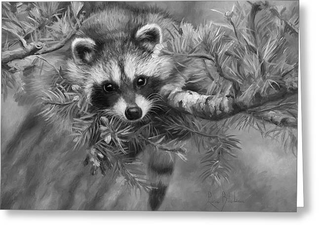 Seeking Mischief - Black And White Greeting Card by Lucie Bilodeau