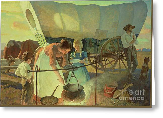 Seeking The New Home Greeting Card by Newell Convers Wyeth