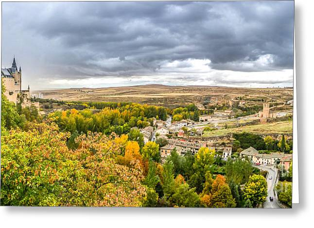 Castilla Greeting Cards - Segovia Castle with dramatic cloudsccape, Castilla y Leon, Spain Greeting Card by JR Photography