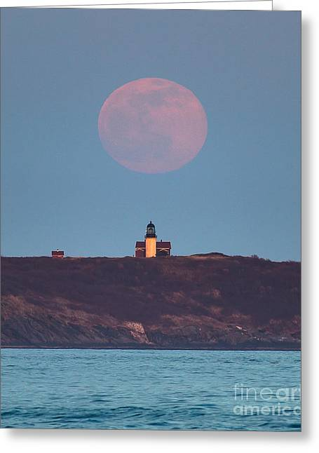 Moon Beach Greeting Cards - Seguin Island Lighthouse Ghost Moon Greeting Card by Benjamin Williamson