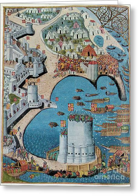 Rhodes Greeting Cards - Seige of Tower Of Saint Nicolas Greeting Card by Photo Researchers