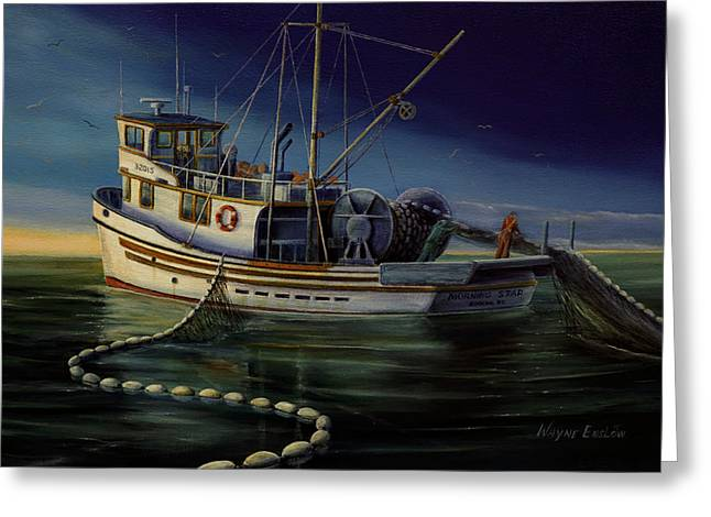 Antenna Paintings Greeting Cards - Seiner F/V Morning Star Greeting Card by Wayne Enslow