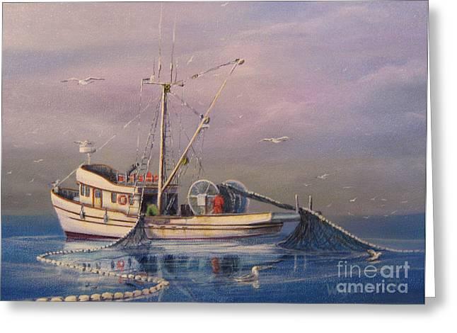 Antennae Paintings Greeting Cards - Seiner Fishing Salmon Greeting Card by Wayne Enslow