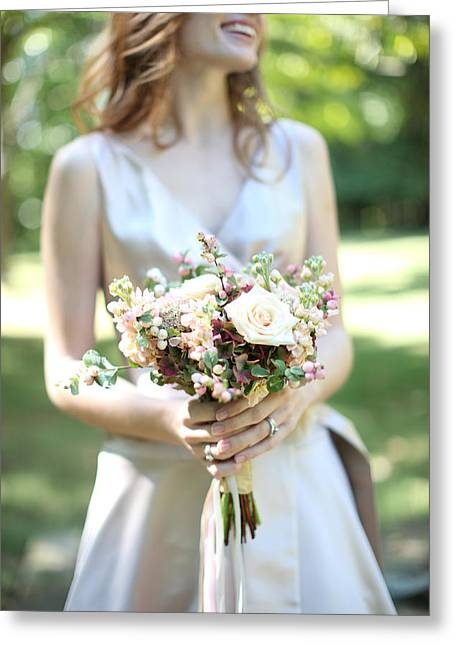 Beginning Greeting Cards - Selective Focus Of Brides Bouquet Greeting Card by Gillham Studios
