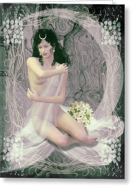 Moon Mixed Media Mixed Media Greeting Cards - Selene the moon goddess Greeting Card by Joaquin Abella