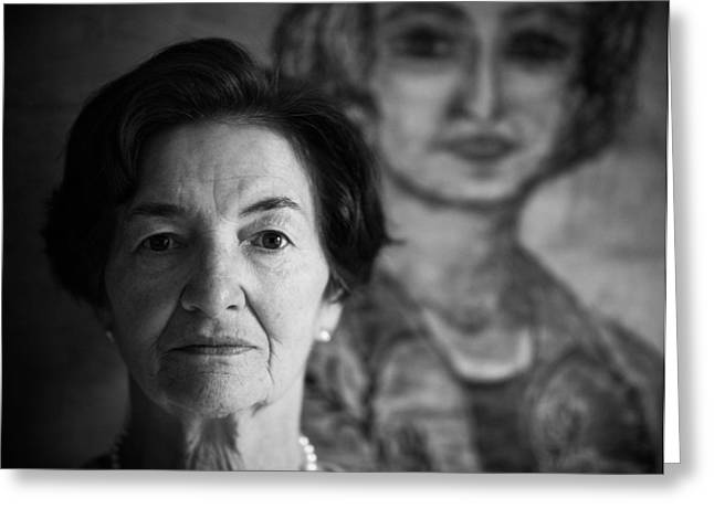 Portrait Photographs Greeting Cards - Self-portrait / Monologue Greeting Card by Matthias Leberle