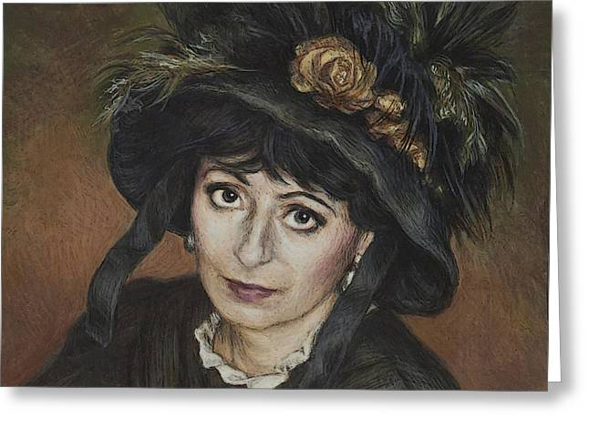Self-portrait Greeting Cards - Self-Portrait a la Camille Claudel Greeting Card by Yvonne Nowicka-Wright