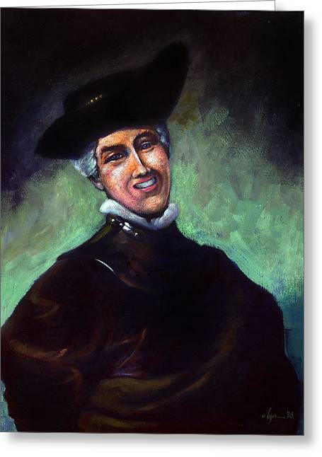 Plastic Drinking Water Bottles Greeting Cards - Self Portrait a la Rembrandt Greeting Card by Angela Treat Lyon