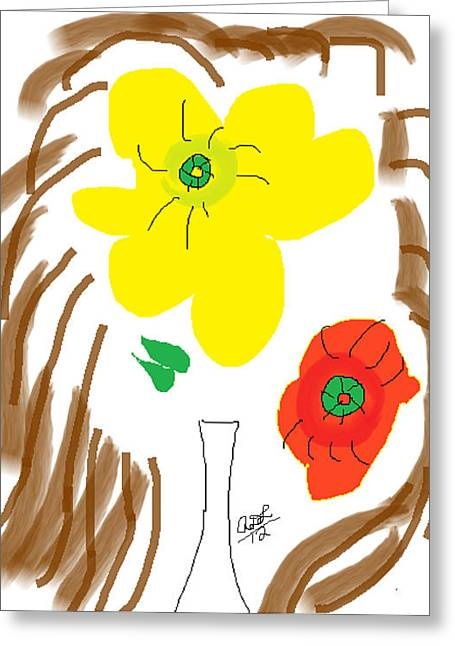 Vase Of Flowers Greeting Cards - Self Portrait as Two Roses in a Vase Greeting Card by Anita Dale Livaditis