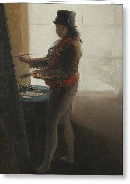 Self-portrait At The Easel Greeting Card by Francisco Goya