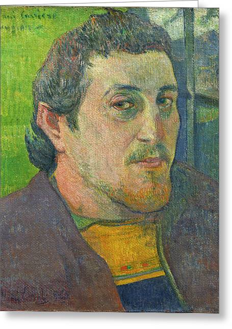 Famous Artist Greeting Cards - Self-portrait Dedicated To Carriere Greeting Card by Paul Gauguin