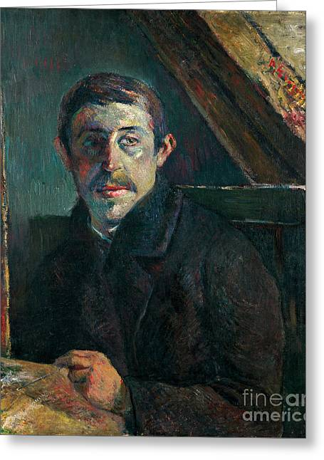 Vintage Painter Greeting Cards - Self Portrait Greeting Card by Gauguin