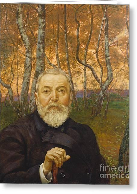 Birch Grove Greeting Cards - Self-Portrait in a Birch Grove Greeting Card by Celestial Images