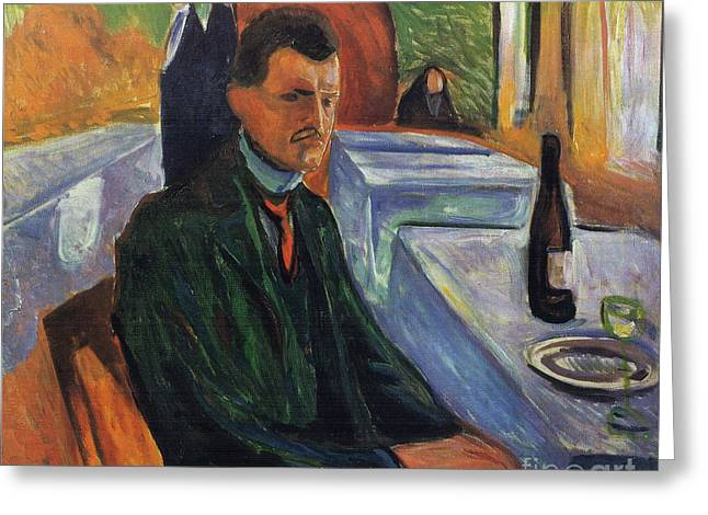 Edvard Greeting Cards - Self-portrait in a bottle of wine Greeting Card by Edvard Munch