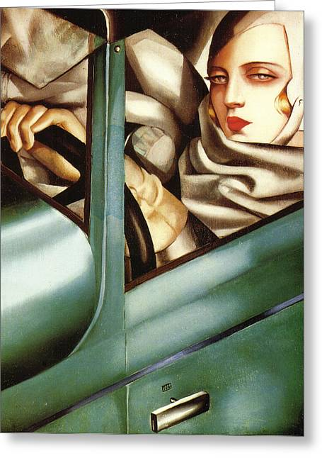 Self Portrait In A Green Bugatti Greeting Card by Tamara de Lempicka