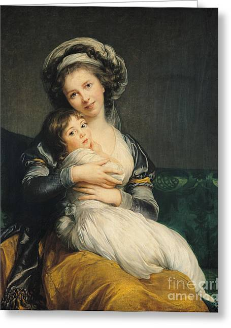 Louise Greeting Cards - Self portrait in a Turban with her Child Greeting Card by Elisabeth Louise Vigee Lebrun
