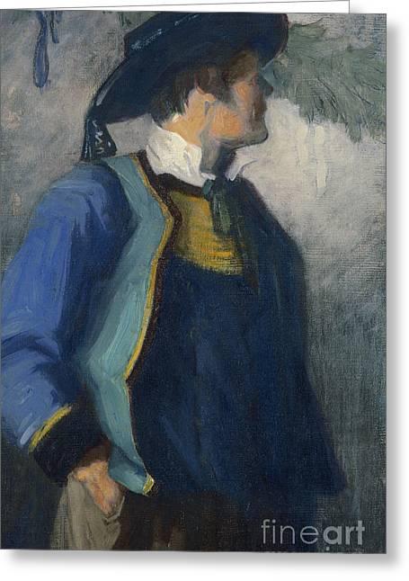 Dress Greeting Cards - Self-Portrait in Bretonnian Garb Greeting Card by Franz Marc