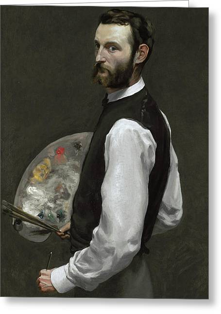 Self Portrait Greeting Card by Jean Frederic Bazille