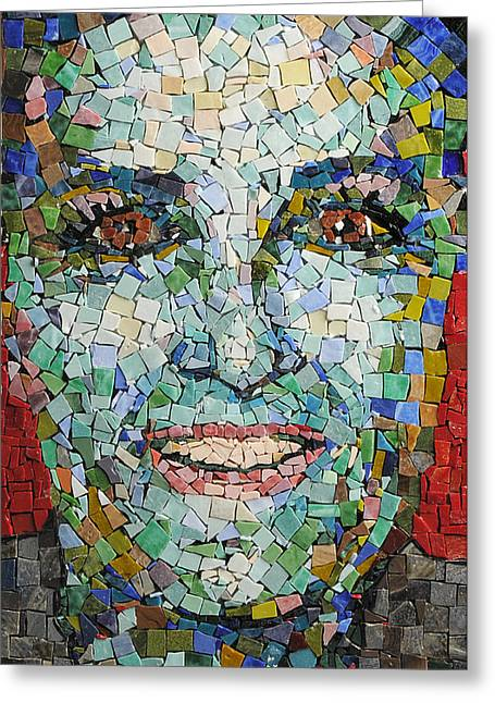 Mosaic Portraits Mixed Media Greeting Cards - Self Portrait Greeting Card by Laura K Aiken