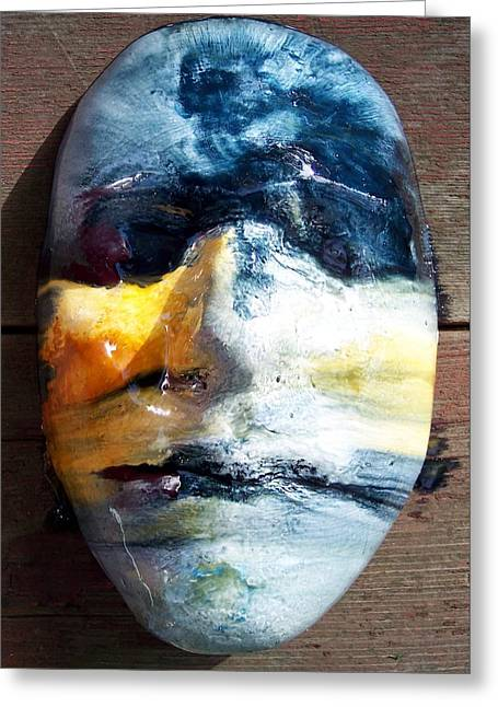 Surrealism Reliefs Greeting Cards - Self Portrait Life Mask Greeting Card by Trey Berry