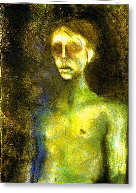 Figural Pastels Greeting Cards - Self Portrait Greeting Card by Michal Rezanka