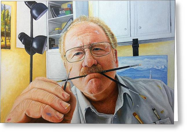 Mike Ivey Greeting Cards - Self portrait Greeting Card by Mike Ivey