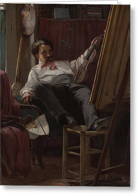 Self - Portrait Of Artist In His Studio Greeting Card by Mountain Dreams
