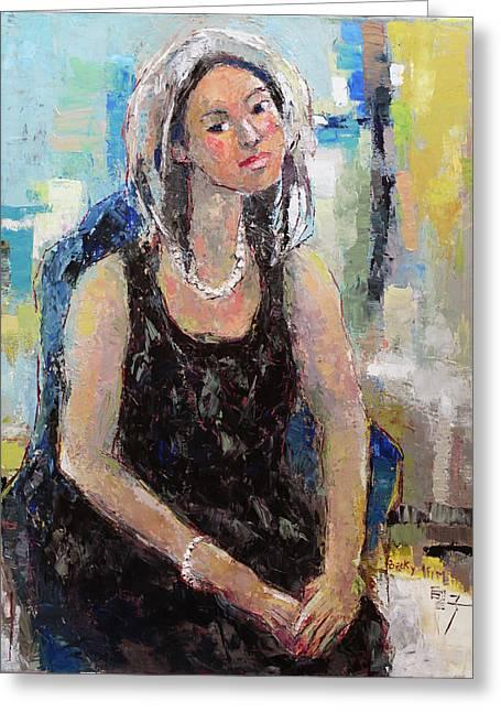Self Portrait Of Becky Kim Greeting Card by Becky Kim