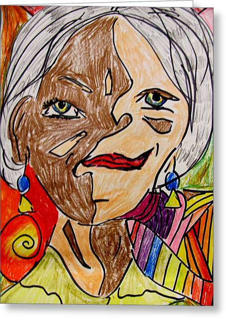 Self Portrait Pastels Greeting Cards - self portrait Picasso style Greeting Card by Mona McClave Dunson