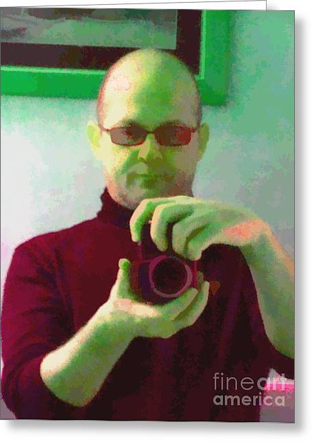 Artworkx Of Mann Greeting Cards - Self Portrait Greeting Card by Roberto Edmanson-Harrison