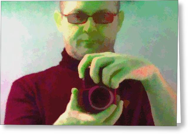 Self Portrait Greeting Card by Roberto Edmanson-Harrison