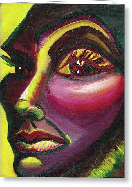 Suzanne Marie Molleur Paintings Greeting Cards - Self Portrait Greeting Card by Suzanne  Marie Leclair