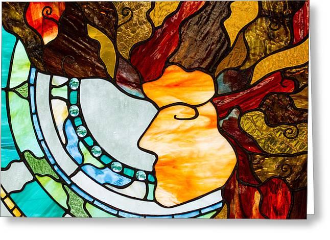 Meditation Glass Greeting Cards - Self Portrait Greeting Card by Tina Marohn