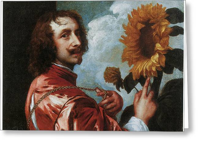 Portrait With Flowers Greeting Cards - Self-Portrait with a Sunflower Greeting Card by Anthony Van Dyck