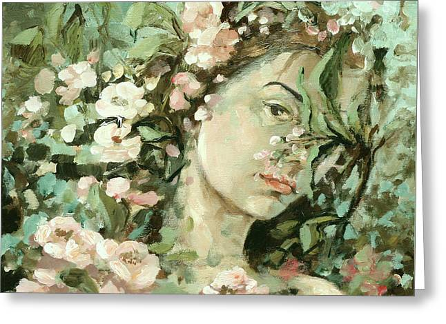 The Trees Greeting Cards - Self Portrait With Aplle Flowers Greeting Card by Vali Irina Ciobanu