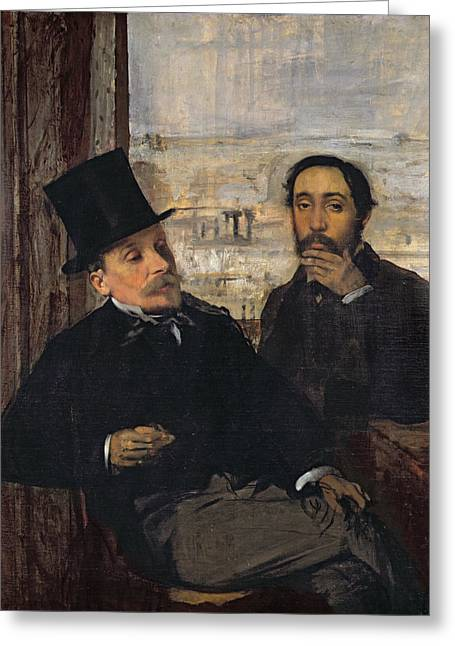 Self View Greeting Cards - Self Portrait with Evariste de Valernes Greeting Card by Edgar Degas