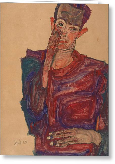 Self-portrait With Eyelid Pulled Down Greeting Card by Egon Schiele