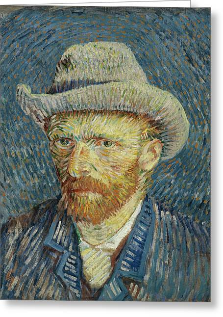 Self-portrait Greeting Cards - Self portrait with grey felt hat  Greeting Card by Vincent van Gogh