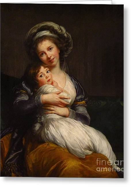 Portraitist Greeting Cards - Self-portrait with her daughter Jeanne-Lucie Greeting Card by Celestial Images