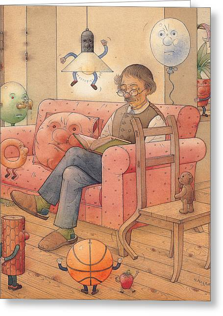 Dinning Room Greeting Cards - Self-portrait with my things Greeting Card by Kestutis Kasparavicius