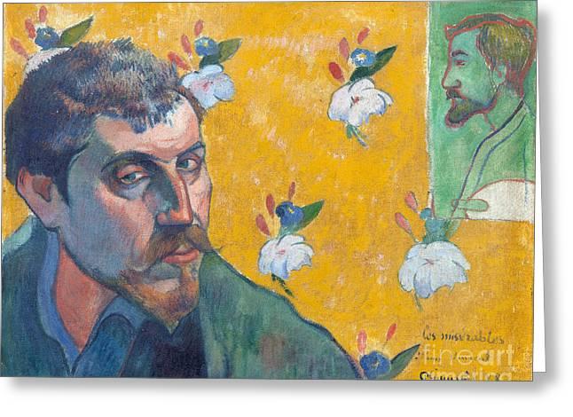 Vintage Painter Greeting Cards - Self-portrait with portrait of Bernard Greeting Card by Gauguin