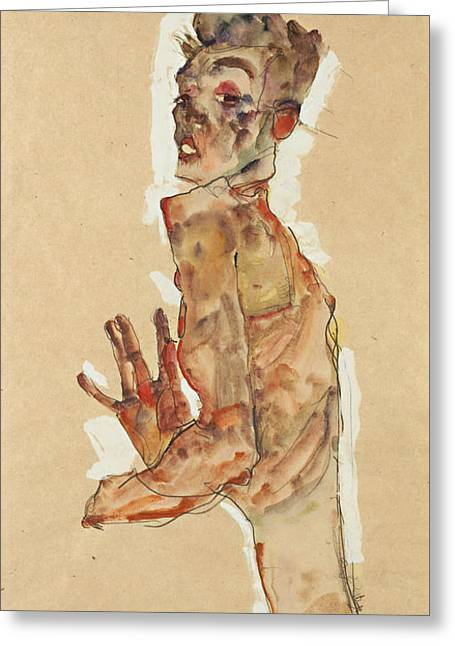 Self-portrait With Splayed Fingers Greeting Card by Egon Schiele
