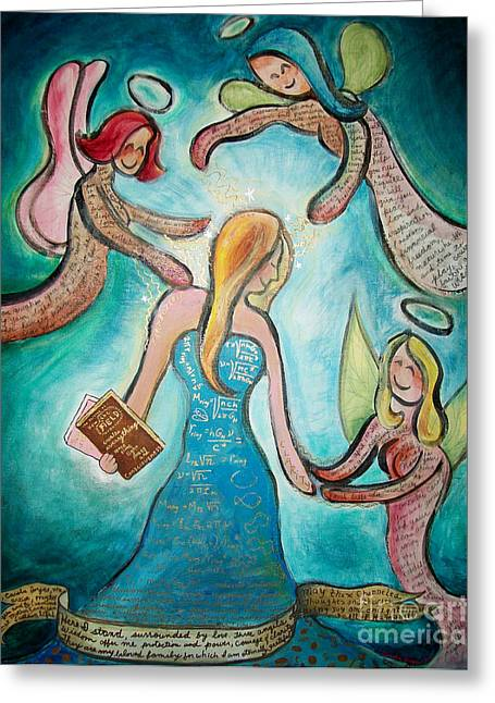 Self-knowledge Paintings Greeting Cards - Self Portrait With Three Spirit Guides Greeting Card by Carola Joyce