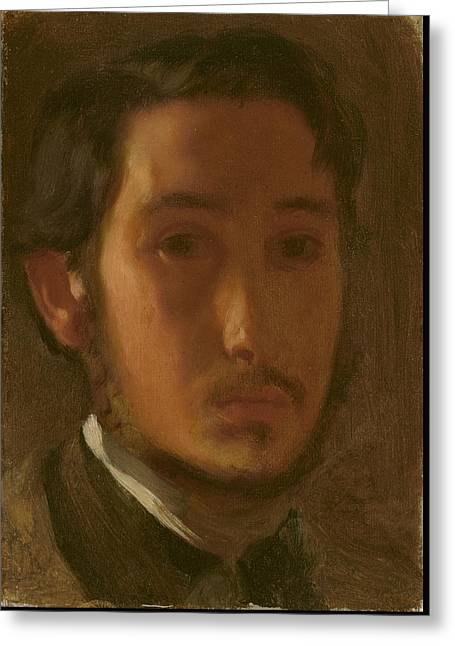 French Open Greeting Cards - Self-portrait With White Collar Greeting Card by Edgar Degas