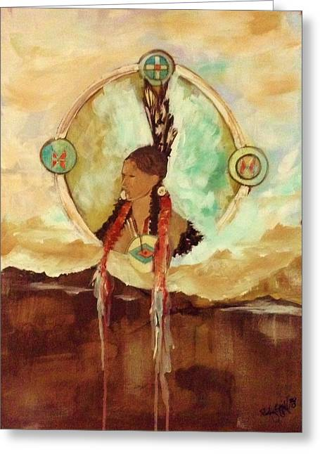 Native American Indian Medicine Wheel Greeting Cards - Self Reflection Greeting Card by Shirley Offill