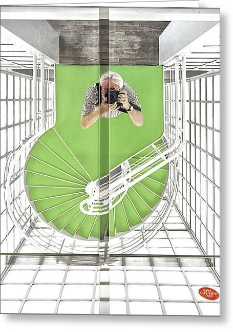 Spiral Staircase Photographs Greeting Cards - Selfie In The Cinematheque Greeting Card by Herbert A. Franke