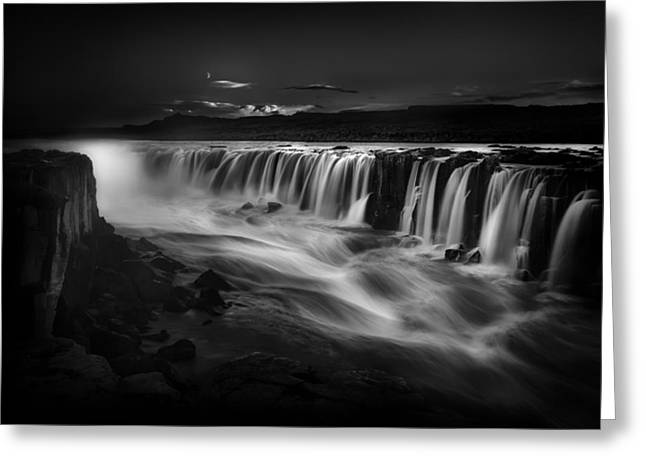 Blackandwhite Greeting Cards - Selfoss Waterfall Iceland Greeting Card by Bill Devlin
